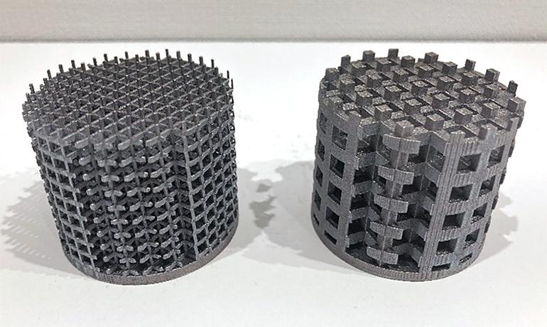 金属3Dプリンターで再現したラティス構造の参考写真
