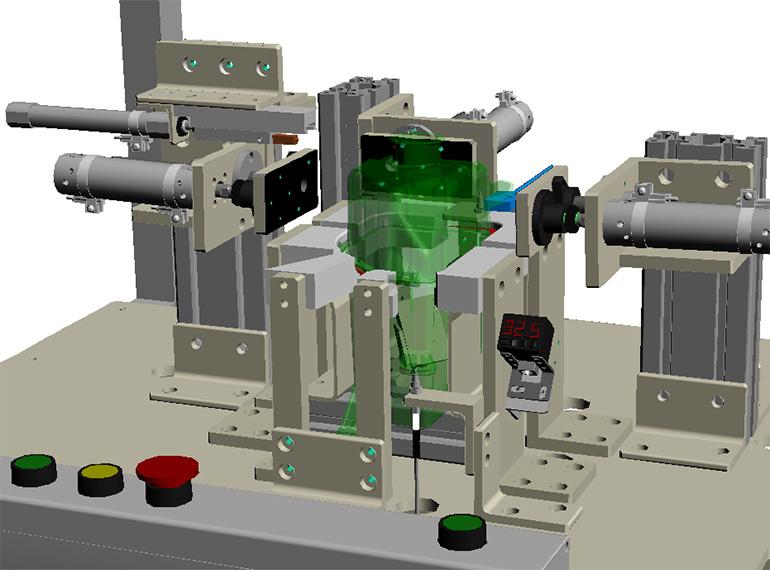 タンク類のリーク試験機-部分的な3Dモデル