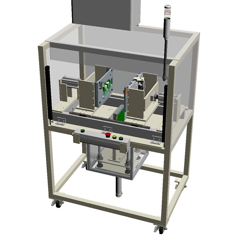 タンク類(ウォッシャータンク、リザーブタンク等)熱板溶着機・溶着治具(専用機)-全体の3Dモデル