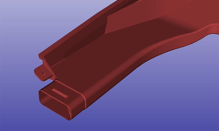 デフロスターノズルの3DCADイメージ-ブロー設計