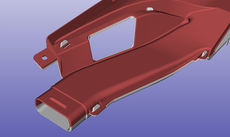 デフロスターノズルの3DCADイメージ-射出設計