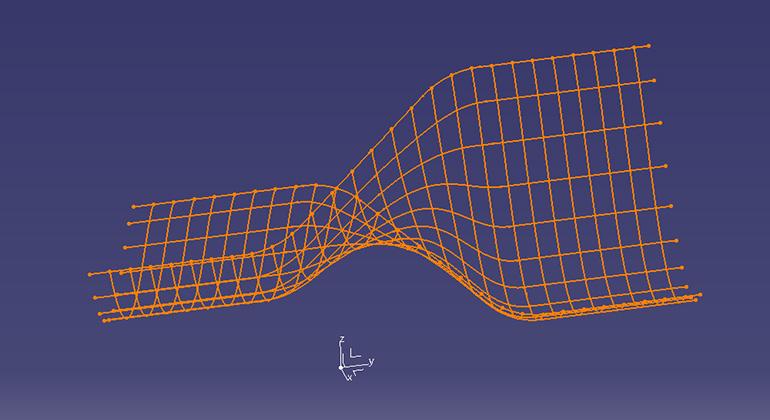 【第二段階】 さらにブローされ、樹脂が膨らみ、形状の変化 -網目の線-