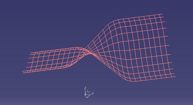 【第一段階】 樹脂(パリソン)がブローされ、内圧のかかり始め -網目の線-