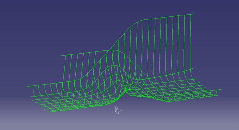 【第四段階】 ほとんどの部分で樹脂が金型面に密着 -網目の線-