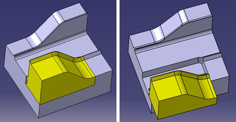 スライド駒の仕様にして成形時にPL間の距離を広くとる